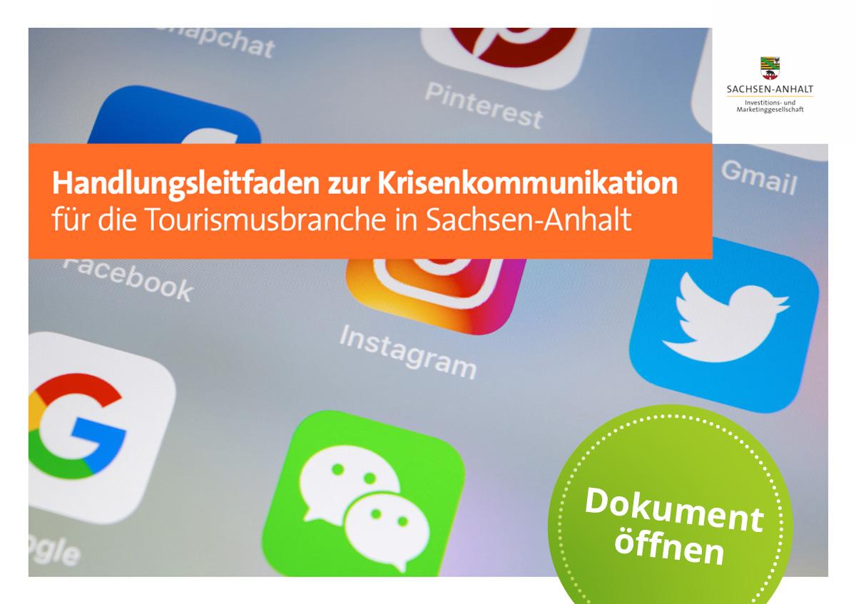 Bild zeigt das Cover des Handlungsleitfadens Krisenkommunikation mit Button: Dokument öffnetn
