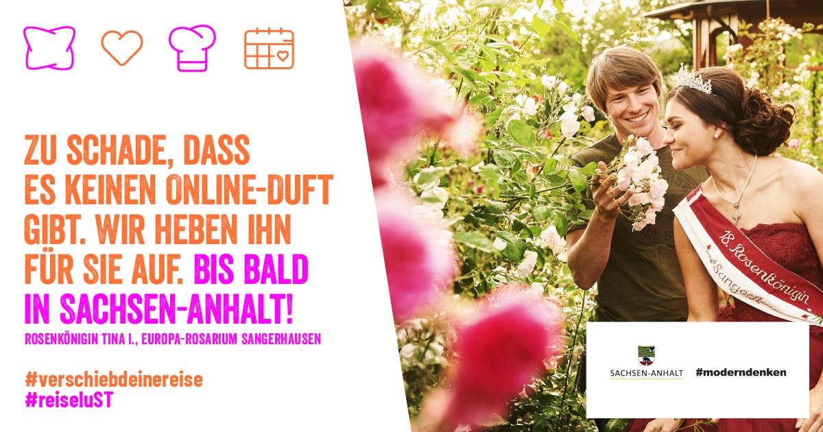 Banner mit der Aufschrift: Zu schade, dass es keinen online Duft gibt. Wir heben ihn für Sie auf. Bis bald in Sachsen-Anhalt!